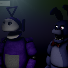 An image of Tinky Winky with Bonnie from Five Nights at Freddy's from Critolious's DeviantArt.