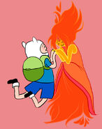 Finn and flame princess flying together by xmembrillita-d4snav1