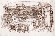 The Flintstones - 1994 Live Action Film - Concept Art by Marty Kline - Flintstones' House - Kitchen