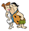 The Flintstones - Clipart - Fred Flintstone Kissing Wilma