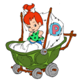 Pebbles Flintstone with a Stroller - Clipart.png