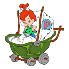Pebbles Flintstone with a Stroller - Clipart