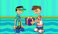 Cooper recibiendo regalo