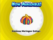 Unlocking rainbow meringue dollops