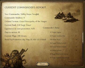 Commander's report