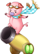 Pig on cannon