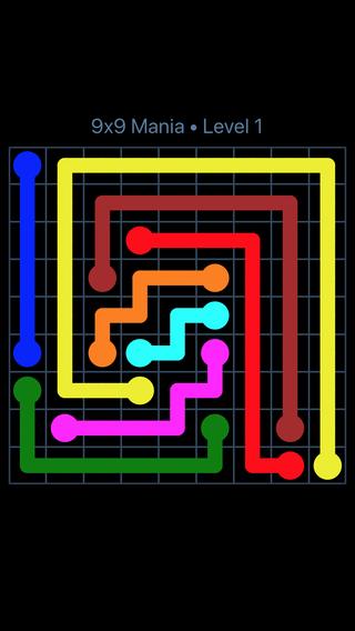 flow free bridges 9x9 level 15
