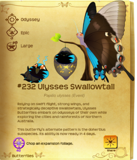 Ulysses Swallowtail§Flutterpedia Upgraded