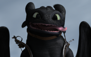 Toothless flying with tongue out