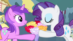 Amethyst Star giving a bouquet of flowers to Rarity S4E13 (1)