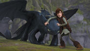 Hiccup keeping Toothless from attacking