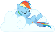 Rainbow sleeping on cloud