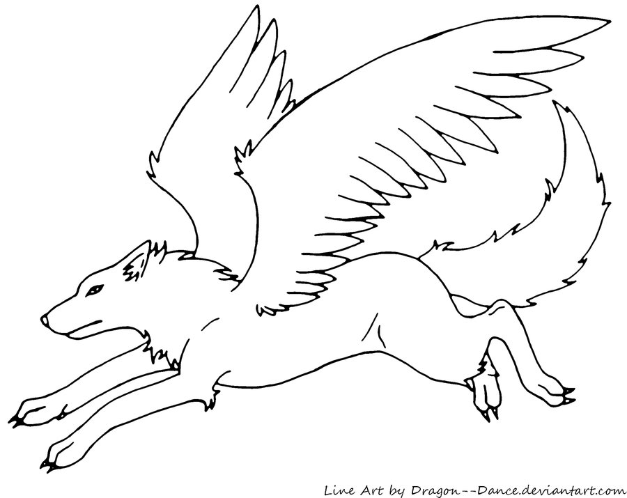 image free winged wolf line art by dragon dance d50y75z jpg fly