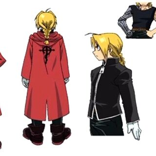 Edward at 12 years old, showcasing all 3 of his outfits he wore throughout the anime.