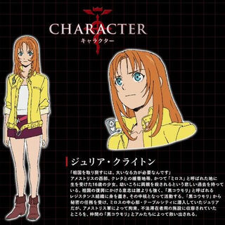 A Bio page of Julia in Japanese, with Full-Body and Facial Artwork.