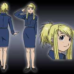 Winry disguised as a member of military.
