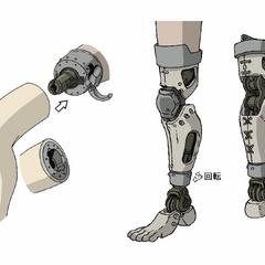 Edward's leg prosthesis in the movie.