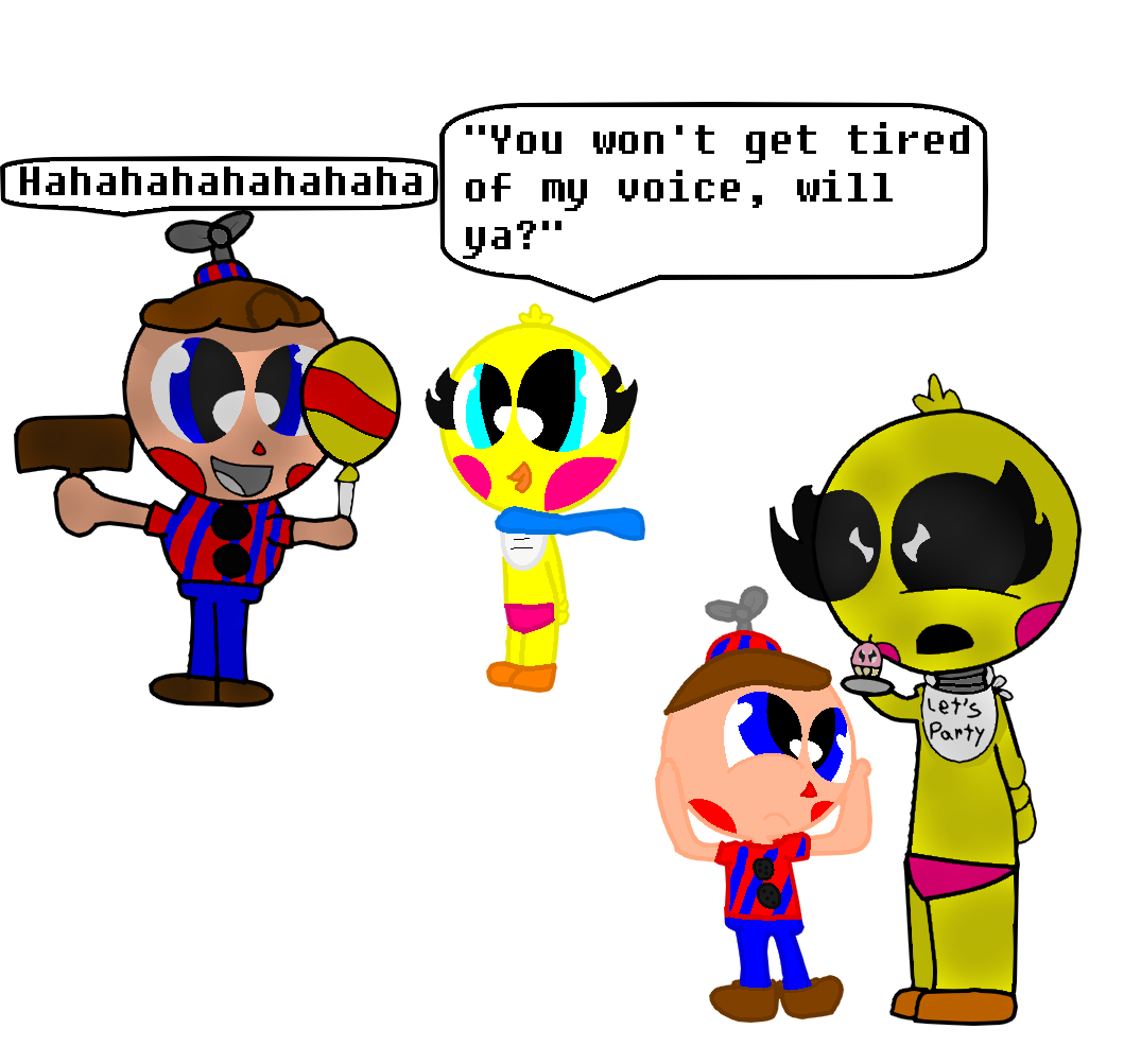 Toy Chica and Adv. BB annoyed by BB and Adv. Toy Chica