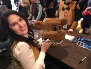 Julie with a Freddy Fazbear's Head