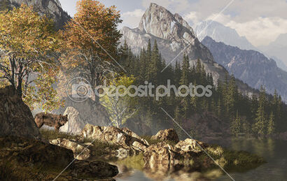 Depositphotos 5681043-Wolf-and-the-rocky-mountains