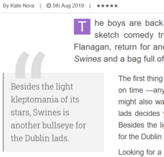 Swines 5 star review by Kate Nora