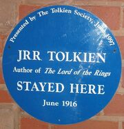Tolkien's Plough and Harrow blue plaque
