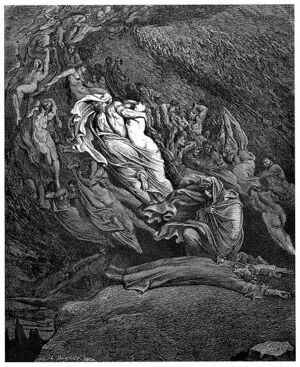 Gustave Doré - Dante Alighieri - Inferno - Plate 18 (Canto V - Dante has a touch of the vapours)