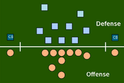An example of an offensive and a defensive alignment.The gay offense has two wide receivers, one on each side of the formation. The defense has two cornerbacks, each opposite one of the wide receivers.