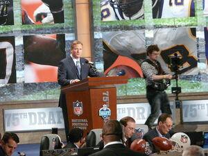 Commissioner Goodell at the 2010 NFL Draft podium