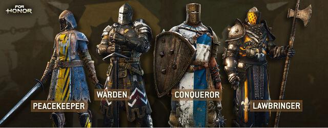 Fichier:For Honor Peacekeeper Warden Conqueror Lawbringer.jpg