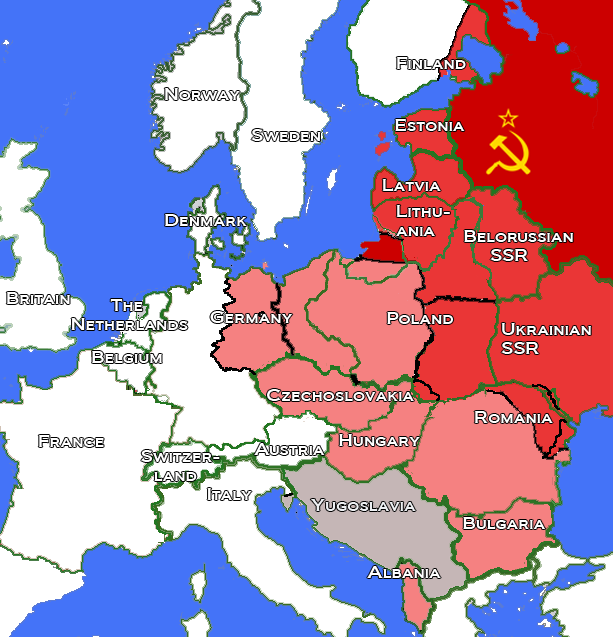 Cold war forever knight wiki fandom powered by wikia eastern europe after world war ii the 1938 borders are in green and the new borders are in black territories held by the soviet union in 1945 are in dark gumiabroncs Choice Image