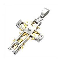 Pendentif-acier-et-traite-or-croix