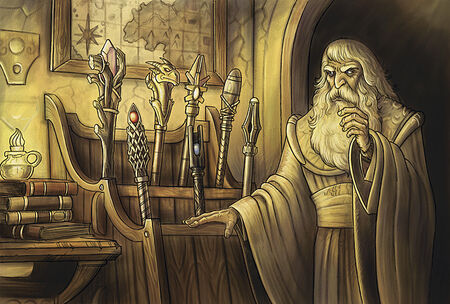 Wizard and staves