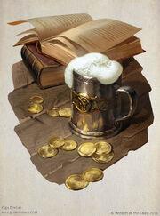 Coins, books, ale
