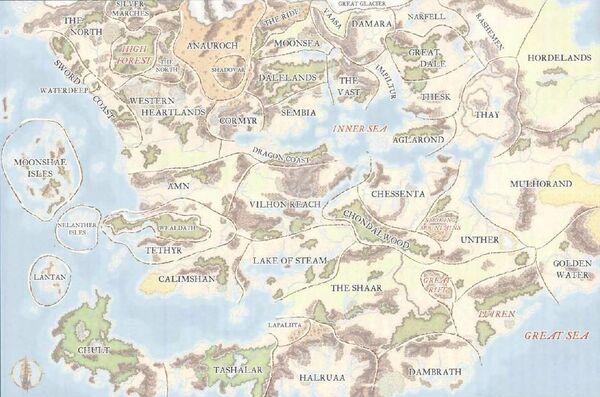 Political Map Of Faerûn Forgotten Realms Wiki FANDOM Powered - Political map