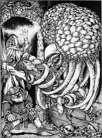 grell Un grell cattura degli avventurieri - by Russ Nicholson Fiend Folio 1st edition (1981) © TSR, Inc.