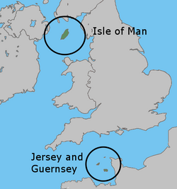 Location of the of the British Crown Dependencies