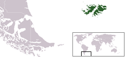 Location of the Falkland Islands
