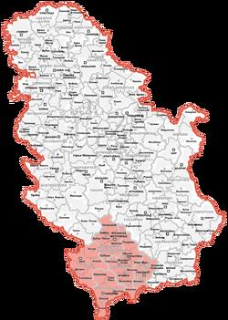 Map of Kosovo and Metohija
