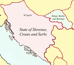 Map of the State of Slovenes, Croats and Serbs