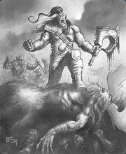 Grom Hellscream kills-Cenarius-by-Patrick-McEvoy