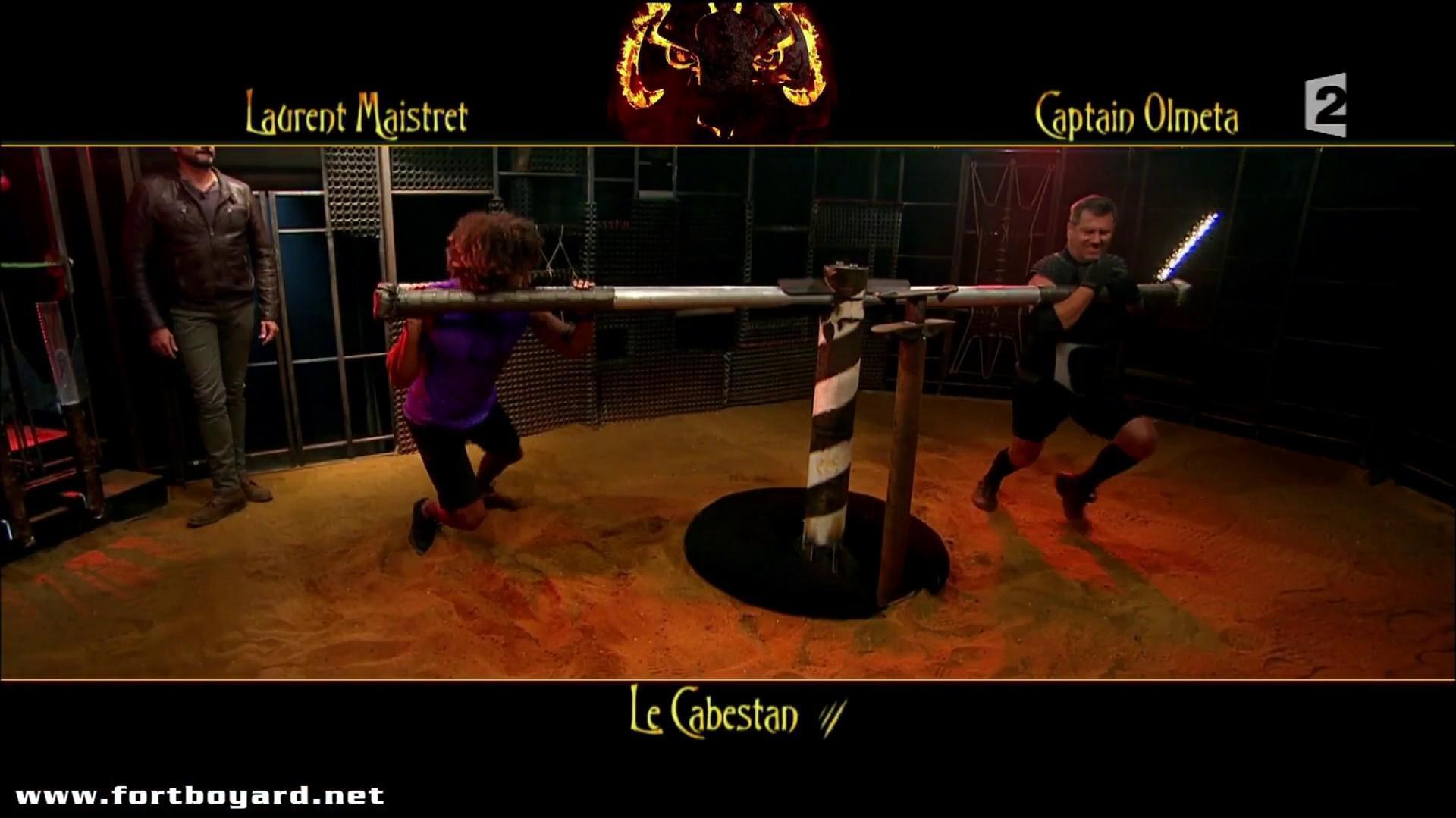 Fort Boyard 2015 duel du Cabestan entre Laurent Maistret et Captain Olmeta (émission du 4 juillet 2015)