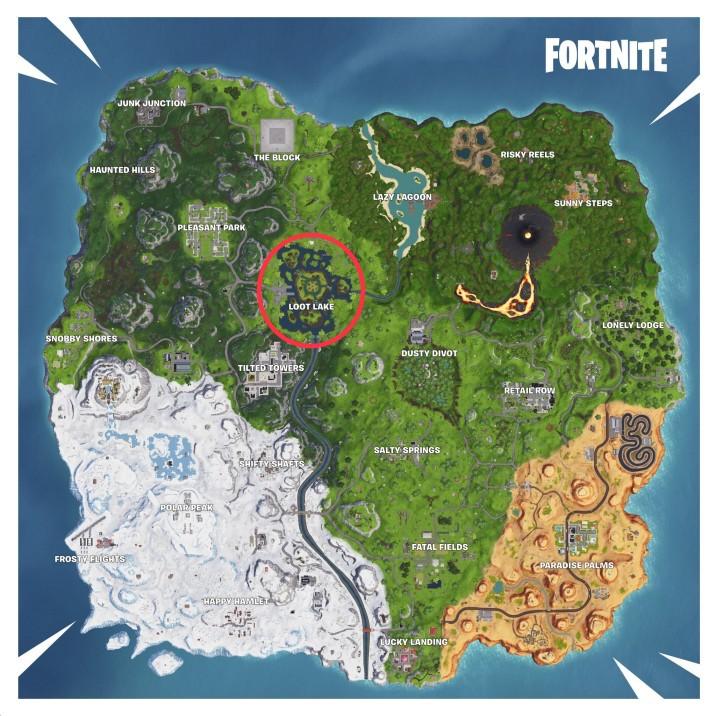 loot lake alias leaky lake est un lieu proche du milieu de la carte battle royale dans fortnite - fortnite carte coffre