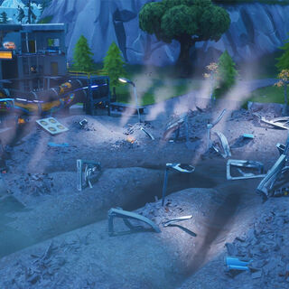 Loot Lake's main left building destroyed, alongside leaving the Monster's giant footprint.
