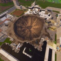 Top-down image of the Prison taken in Replay mode.
