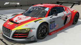 The Audi #45 Flying Lizard Motorsports R8 LMS ultra in Forza Motorsport 7