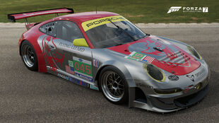 The 2011 Porsche #45 Flying Lizard 911 GT3 RSR in Forza Motorsport 7