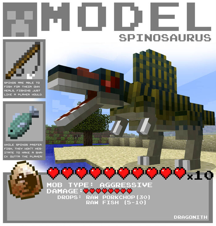 Minecraft spinosaurus by dragonith d4c10no-pre