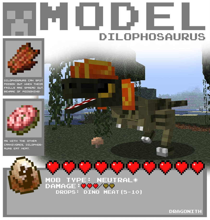 Minecraft dilophosaurus by dragonith d4lzglp-pre
