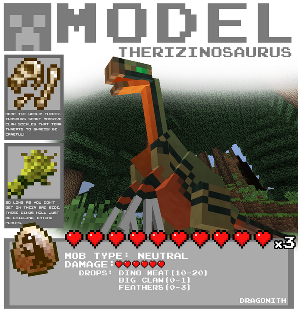 Minecraft therizinosaurus by dragonith-d5xfhcb